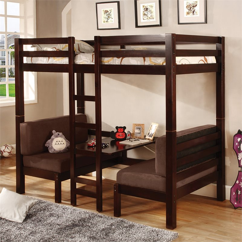 Coaster Twin over Twin Convertible Loft Bunk Bed in Dark Wood Finish