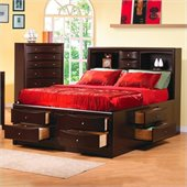Coaster Phoenix Bookcase Storage Bed 2 Piece Bedroom Set in Cappuccino