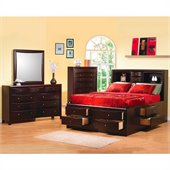 Coaster Phoenix Bookcase Storage Bed 5 Piece Bedroom Set in Cappuccino