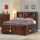 Coaster Hillary and Scottsdale Storage Bookcase Bed 2 Piece Bedroom Set in Warm Brown