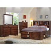 Coaster Hillary and Scottsdale Storage Bookcase Bed 5 Piece Bedroom Set in Warm Brown