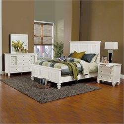 Coaster Malibu Classic Panel Bed 4 Piece Bedroom Set in White Finish