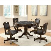 Coaster Turk 3-in-1 Round Pedestal Game Table and Chairs 5 Piece Set in Medium Oak Finish