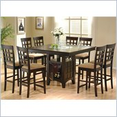 Coaster Hyde 7 PC Counter Height Dining Set with Storage Base in Cappuccino