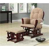 Coaster Tan Microfiber Glider with Matching Ottoman by Coaster