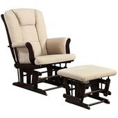 Coaster Beige Microfiber Glider with Matching Ottoman