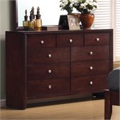 Coaster Serenity 9 Drawer Double Dresser in Merlot Finish
