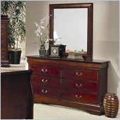Coaster Louis Philippe 6 Drawer Double Dresser and Mirror Set in Cherry