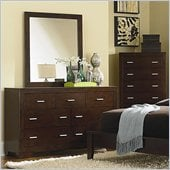 Coaster Tiffany 7 Drawer Dresser and Mirror Set in Deep Brown