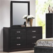 Coaster Dylan Faux Leather 6 Drawer Dresser and Mirror Set in Black