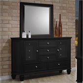 Coaster Sandy Beach Dresser and Mirror Set in Black Finish