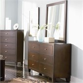 Coaster Lorretta Contemporary 6 Drawer Dresser and Mirror Set
