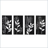 Coaster 4-Piece Wall Art - Black and White Fronds