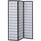 Coaster Three Panel Screen Room Divider in Black