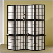Coaster Four Panel Screen Room Divider in Black with Shelves