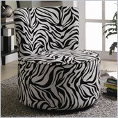 Coaster Accent Seating Round Swivel Chair in Exotic Zebra Stripes