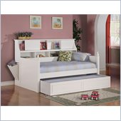 Coaster Daisy Bookcase Wood Daybed with Under-Bed Trundle in White