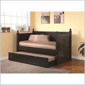 Coaster Wood Daybed with Trundle in Satin Black