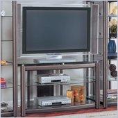 Coaster Wall Units Metal TV Stand with Glass Shelves in Dark Grey