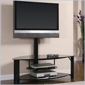 Coaster Contemporary Metal and Glass Media Console w/ Bracket in Black