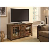 Coaster TV Console with Windowpane Door Fronts in Oak