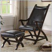 Coaster Club Seating Leather Cigar Chair and Ottoman