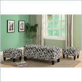 Coaster Upholstered Storage Bench and Ottomans in Zebra Print