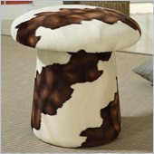 Coaster Mushroom Shaped Ottoman with Swivel in Brown and White