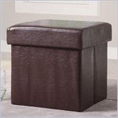 Coaster Square Faux Leather Storage Ottoman in Brown