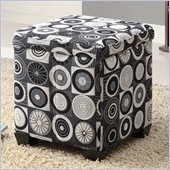 Coaster Square Fabric Ottoman in Black and White