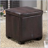 Coaster Square Faux Leather Ottoman in Brown 