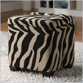 Coaster Square Fabric Ottoman in Zebra Print