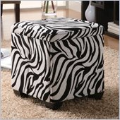 Coaster Square Fabric Ottoman in Multi Color