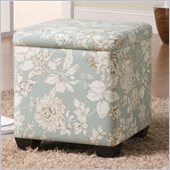 Coaster Square Fabric Ottoman in Gray and Pink Flower Pattern