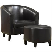 Coaster Accent Chair and Ottoman in Dark Brown Faux Leather