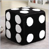 Coaster Dice Ottoman in Black Faux Leather