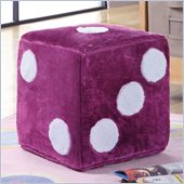 Coaster Dice Ottoman in Fuchsia Faux Leather
