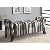 Coaster Vinyl Storage Bench with Curved Ends in Stripes