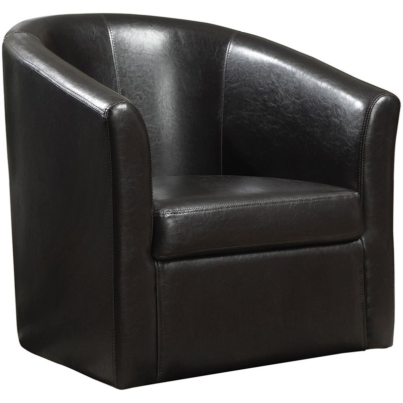 Coaster Club Chair In Dark Brown Faux Leather Leather Living Room Furniture Sets
