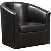 Coaster Club Chair in Dark Brown Faux Leather