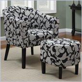 Coaster Club Chair and Ottoman in Black and White