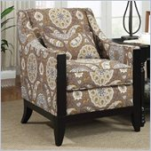 Coaster Club Chair in Brown and Beige Flower Pattern