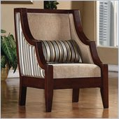 Coaster Accent Chair in Soft Chenille Striped and Beige
