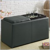 Coaster Large Ottoman with Additional Seating in Faux Leather Brown 