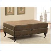 Coaster Faux Leather Storage Ottoman in Coffee