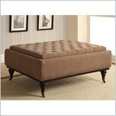 Coaster Storage Ottoman with Tufts and Caster Wood Legs in Brown