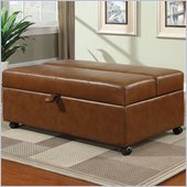 Coaster Storage Bench with Fold Out Sleeper and Casters in Caramel