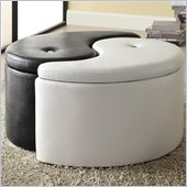 Coaster Storage Ottoman Ying Yang in Black and White
