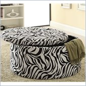 Coaster Storage Ottoman with Tufted Seat in Zebra Print 