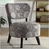 Coaster Accent Chair with Padded Seat in Gray Floral Motif